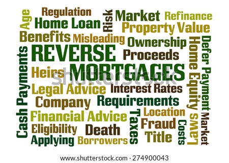 Reverse Mortgages word cloud on white background - stock photo