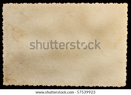 Reverse side of an old photo print with a decorative border - stock photo