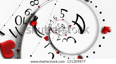 Reversed infinity time with heart shapes. Infinity love concept. - stock photo