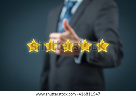 Review, rating, ranking, evaluation and classification concept. Businessman is satisfied with company 5 stars rating.
