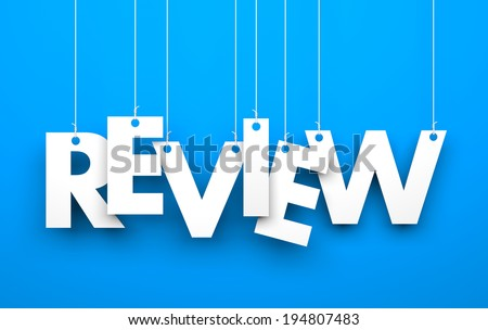 Review. Text on the string - stock photo