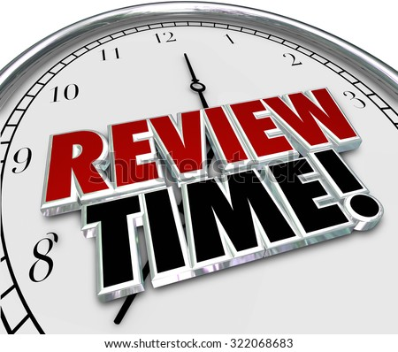 Review Time words in 3d letters on a clock face to remind you to do an evaluation or assessment as an employee or supervisor - stock photo