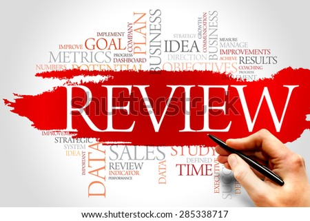 Review word cloud, business concept - stock photo