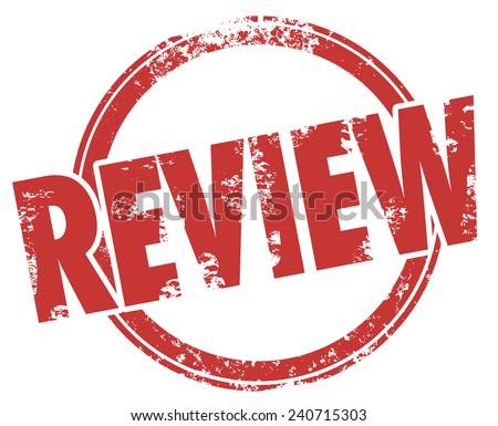 Review word in a circle stamp to illustrate a product or service criticism, feedback, rating, comment, assessment or evaluation - stock photo
