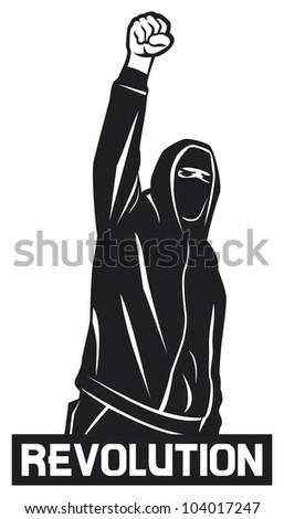 revolution (demonstrator, hooligan, protest man) - stock photo