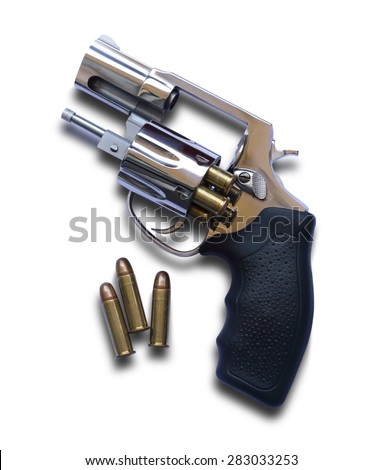 Revolver gun and ammunitions isolated on white background - stock photo