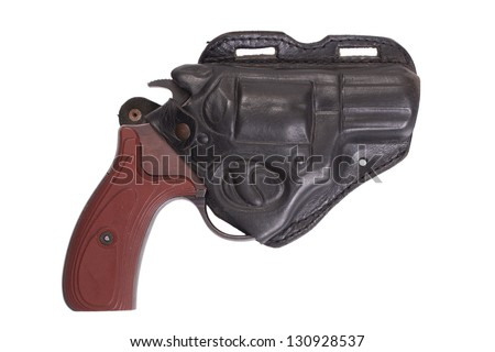 revolver gun and leather holster isolated on white background - stock photo