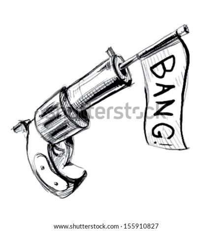 Revolver icon with check box - stock photo