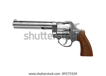 revolver isolated on white - stock photo