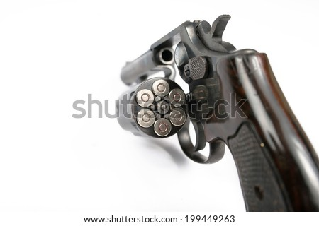 revolver on white background with clipping path  - stock photo