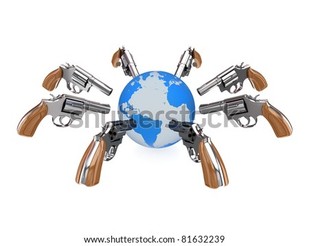 Revolvers aiming at planet Earth. 3d rendered isolated on white background. - stock photo