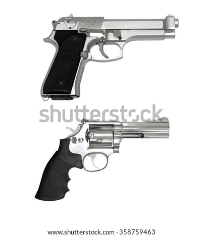 Revolvers gun and black semi-automatic gun isolated on white backgroundset gun isolated on white background. - stock photo