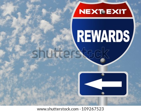 Rewards road sign - stock photo