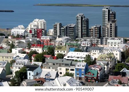 Reykjavik building tops - stock photo
