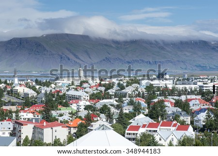Reykjavik city, view from the top  church, Iceland - stock photo