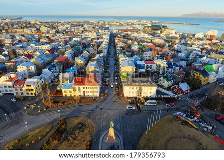 Reykjavik, Iceland cityscape. View of the city from the top of the Hallgrimskirkja Church in the winter. - stock photo