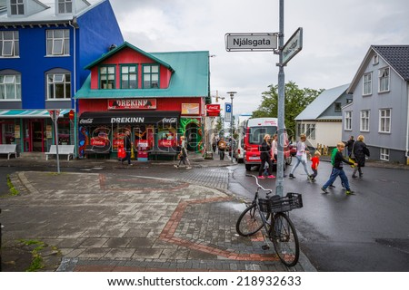 REYKJAVIK, ICELAND-JULY 25: Town streets 25, 2013 in Reykjavik, Iceland. Streets of the capital in which they live most of the country's population. - stock photo