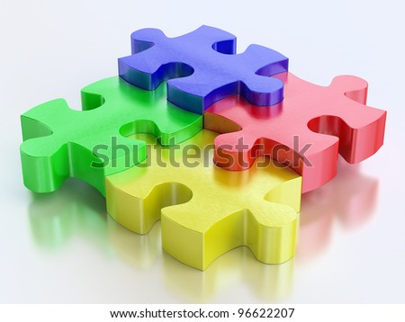 rgb color jigsaw puzzle pieces on reflect background - stock photo