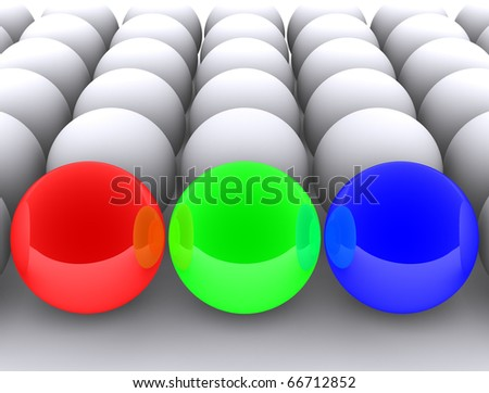 RGB colored Balls - stock photo