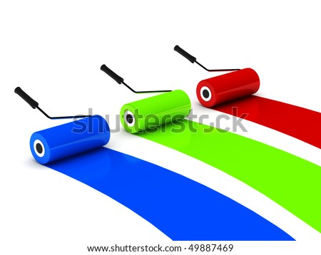 RGB paint roller isolated on white background. High quality 3d render. - stock photo