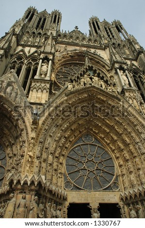 Rheims Cathedral, Champagne, France - stock photo