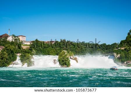Rheinfall, Waterfall of the river Rhein at Neuhausen, Schaffhausen, Switzerland - stock photo