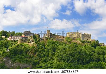 Rheinfels castle of Rhine Valley, Germany. Rhine Valley is UNESCO World Heritage Site - stock photo