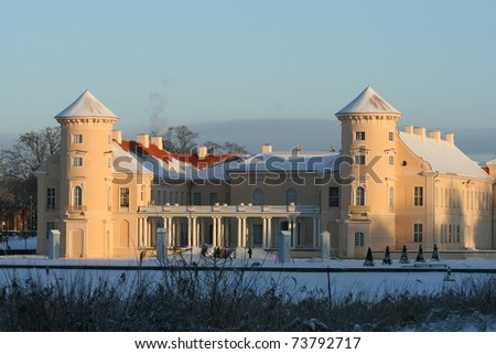 Rheinsberg Castle in Germany in winter - stock photo