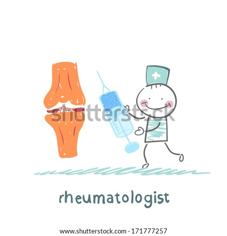 rheumatologist with a syringe in his hand standing near the joint of the leg man - stock photo