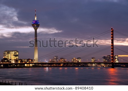 Rhine bridge with Tower in Media Harbor, Düsseldorf - stock photo