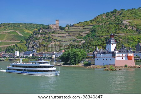 Rhine River and Pfalzgrafenstein Castle near Kaub,Germany - stock photo