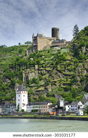 Rhine valley and castle Katz, Germany. Rhine Valley is UNESCO World Heritage Site - stock photo