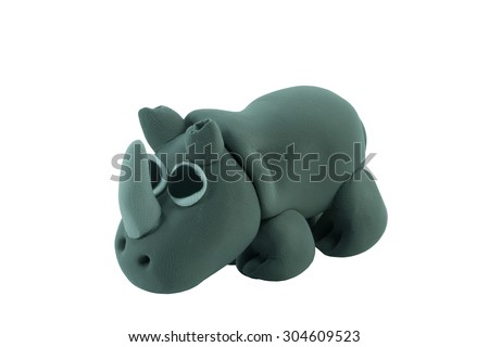 rhino made from plasticine in concept wide life - stock photo