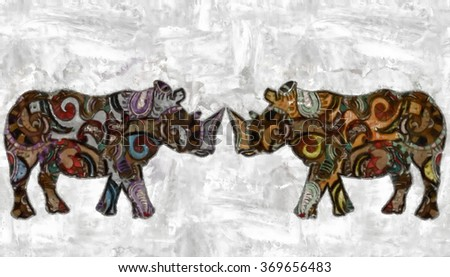 rhinoceroses watercolor painted with patterns - stock photo