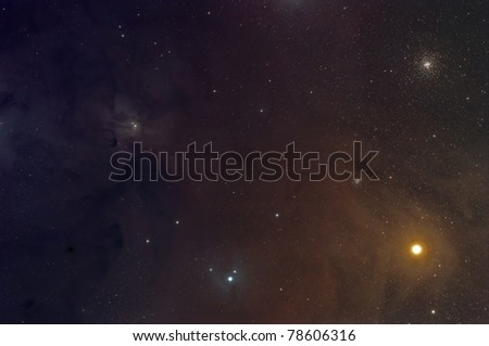 Rho Ophiuchi Nebula, Antares and the M4 Cluster - stock photo