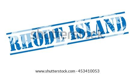 rhode island blue stamp on white background - stock photo