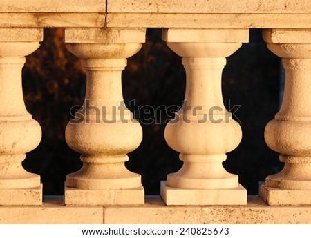 Rhode Island State House Pillars in Sunset, Providence, Rhode Island, USA - stock photo