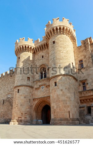 RHODES, GREECE - JUNE 13, 2016:  Front of the Grand Master of the Knights of Rhodes, a medieval castle of the Hospitaller Knights on the island of Rhodes, Greece. - stock photo