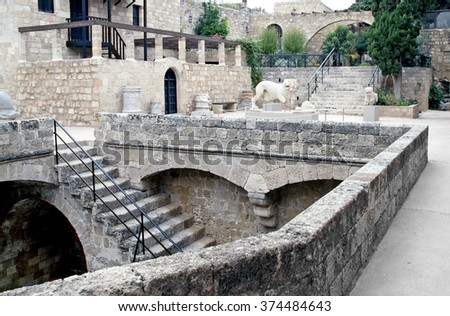 RHODES, GREECE - NOVEMBER 12,  2010: Patio in the Archaeological Museum of Rhodes Crusader city - stock photo