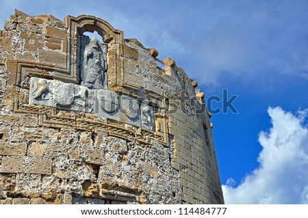rhodes old city walls - stock photo
