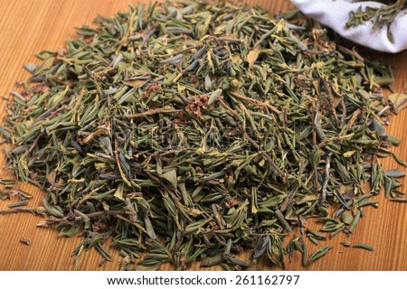 Rhododendron adamsii - dried leaves for the preparation of healing tea beverage - stock photo