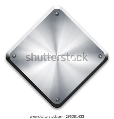 rhombus metal plate - stock photo