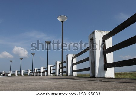 Rhythm  of Lantern, Lamp Post Street Road Light Pole  with blue sky. - stock photo
