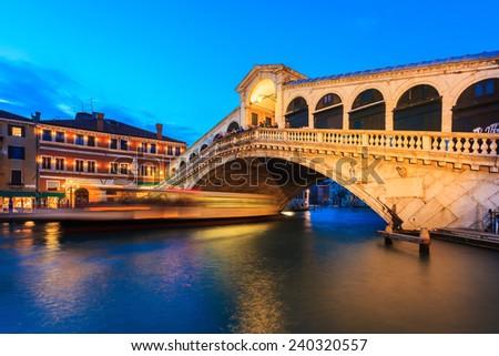 Rialto bridge at twilight in Venice, Italy - stock photo