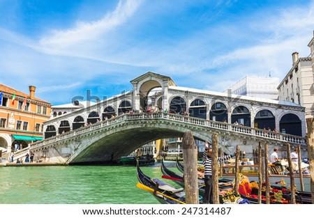 Rialto bridge in Venice. Italy - stock photo