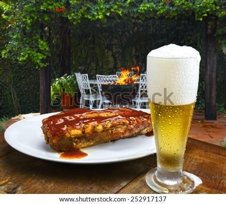 Rib barbecue - stock photo