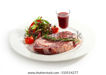 Rib Eye Steak with Thyme - stock photo