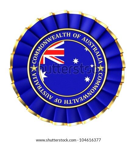 Ribbon Award with the symbols of Commonwealth of Australia - stock photo