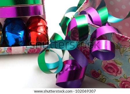 Ribbons and gift box - stock photo