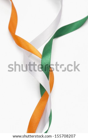 Ribbons representing Indian flag colors - stock photo
